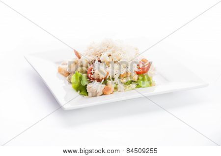 Salad With Cheese, Tomato, Lettuce And Crackers
