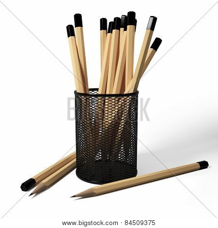 Pencils in the stand on a white background