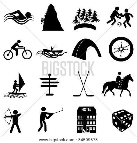Adventure sports icons set