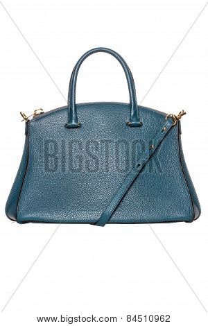 Blue Women's Leather Handbag On A White Background
