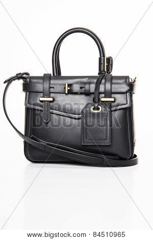 Black Women's Leather Handbag On A White Background