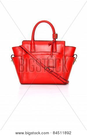 Red Leather Ladies Handbag On A White Background