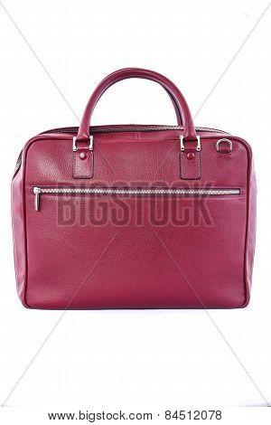 Crimson Handbag On White Background