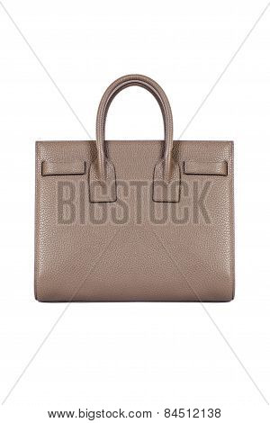 Dark Beige Womans Handbag On White Background