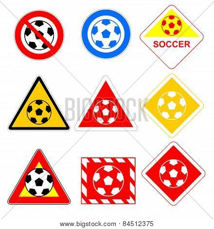 Road signs with soccer ball