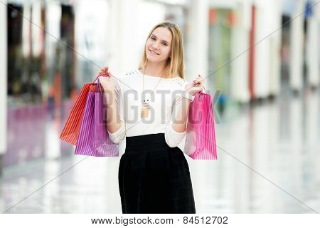 Attractive Female Enjoying Shopping