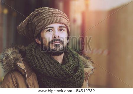 Portrait Of A Handsome Man Warm Filter Applied