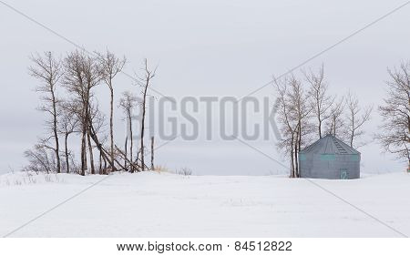 Rural agricultural winter landscape