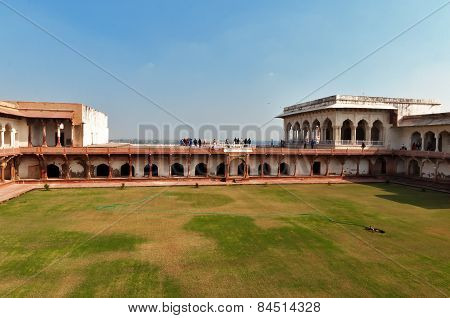 Riverfront Terrace In Red Agra Fort