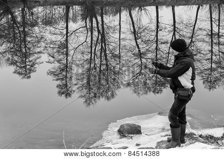 Winter fishing on spinning