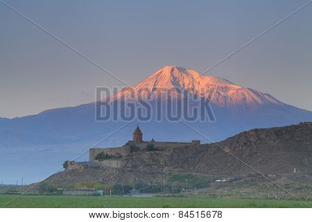 The Ancient Church Of Khor Virap On The Background Of Mount Ararat. Armenia.