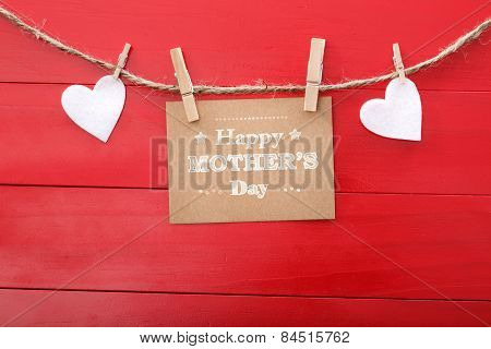 Mothers Day Message With Felt Hearts Hanging With Clothespins