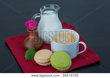 Coffee With Macaroons And Milk