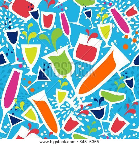 Cocktail Glasses Drink Seamless Pattern