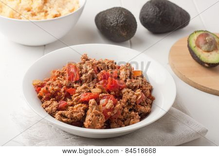 Fried Ground Meat With Tomatoes For Tacos