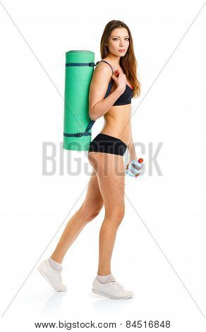 Beautiful Athletic Woman Withmat For Fitness, Bottle Of Water Doing Sport Exercise