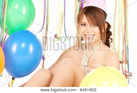 Party Girl With Balloons