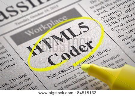 HTML 5 Coder Jobs in Newspaper.
