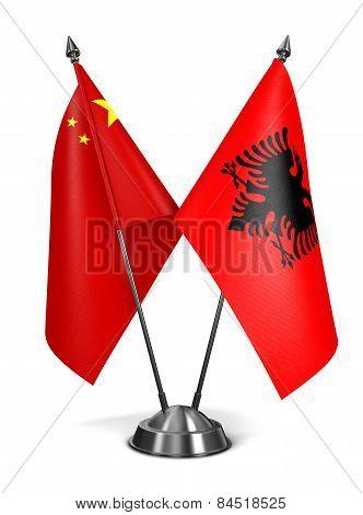 China and Albania - Miniature Flags.