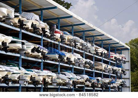 Speed Motor Boats Arranged In Garage