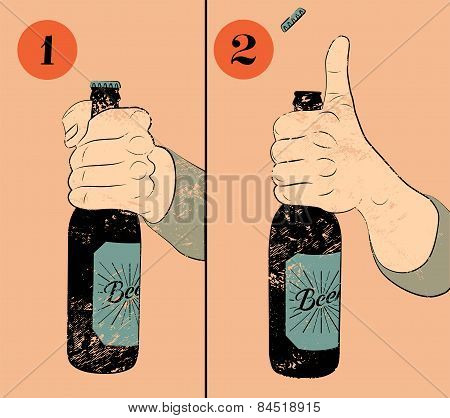 Vintage grunge style beer poster. Humorous poster instruction for opening the a bottle of beer. Hand