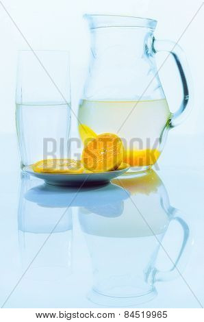 pitcher with lemon drink