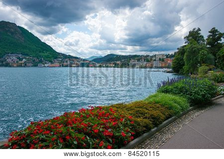 Lake Lugano View At Stormy Weather