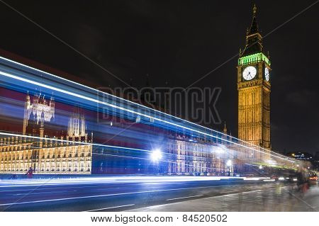 Big ben and Westminster Bridge at Night. London