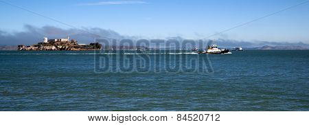 Boats Churn Bay Water Tug Boat Ferry Alcatraz Island San Francisco