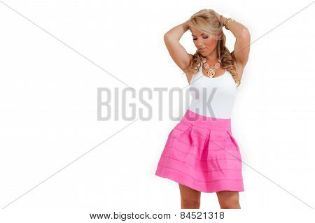 Blonde Latina Pink White Dress Necklace Isolated