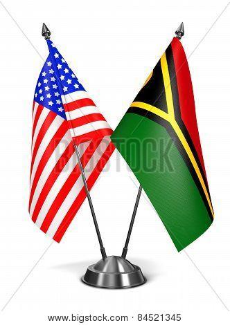 USA and Vanuatu - Miniature Flags.