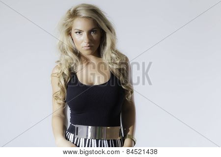 Blonde Latina Fashion Model Dress Isolated