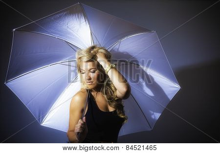Blonde Latina Girl Holding Umbrella Stylized
