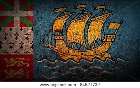 Flag Of Saint Pierre And Miquelon, France With Old Texture. Vector