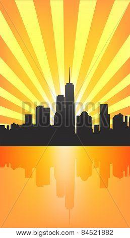 Modern Cityscape On Sunburst Pattern With Reflection