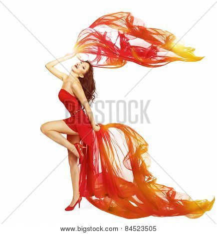 Woman Dancing In Red Dress, Cloth Flying Waving On Wind, Dance Girl Isolated Over White Background