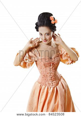 Woman In Historic Baroque Costume Corset, Girl In Rococo Retro Style Dress Flirting White Isolated