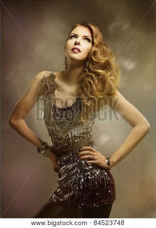 Woman Fashion Beauty Hairstyle Portrait, Pretty Girl In Shiny Dress Looking Up, Curly Hair