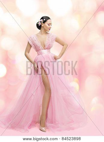 Woman Beauty Portrait In Pink Dress With Sakura Flower, Asian Girl Fashion Gown, Beautiful Model