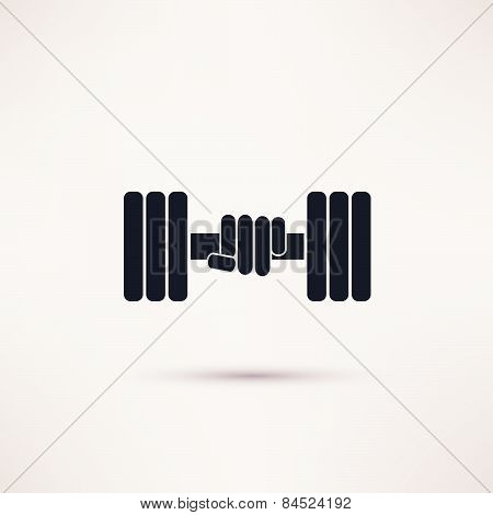 Hand holding weight with dumbbells icon vector.