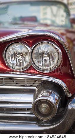 Headlight Of Oldtimer. Havana, Cuba