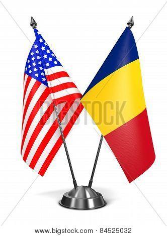 USA and Romania - Miniature Flags.