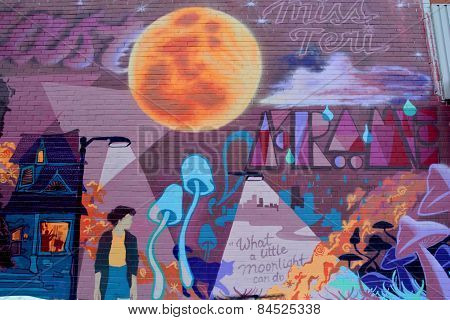 Street art Montreal full moon