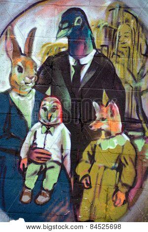 Street art Montreal family portrait