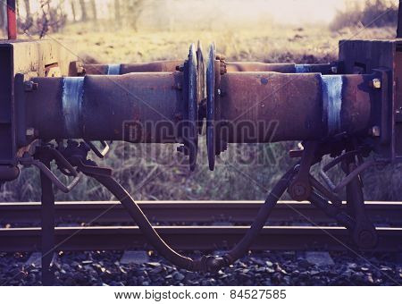 Buffer And Coupling From Railway Carriage, Vintage Style
