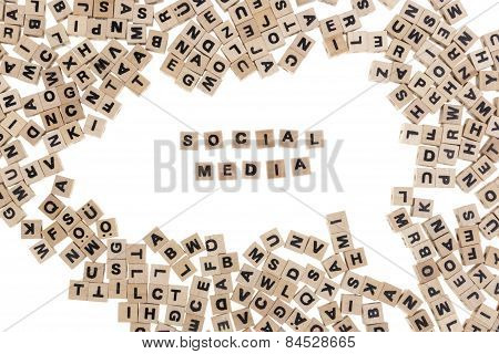 Social Media Written In Small Wooden Cubes