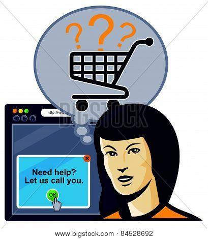 Female Internet Shopper Shopping Cart