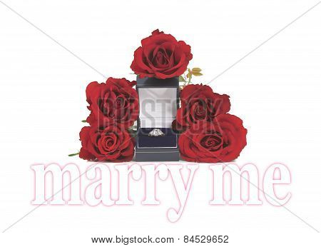 Marriage Proposal with roses and ring