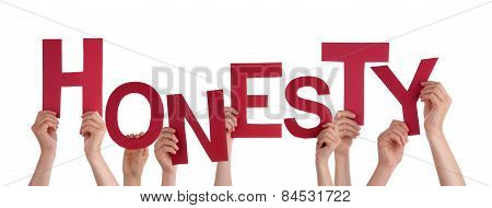 Many People Hands Holding Red Word Honesty