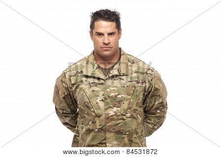 Serious Army Soldier At Parade Rest